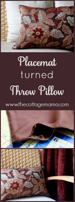 Turn a Placemat into a 10-Minute Throw Pillow on The Cottage Mama. www.thecottagemama