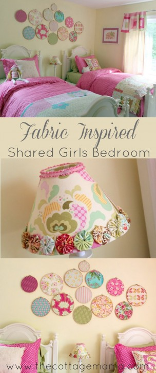 Shared Toddler Girls Bedroom from The Cottage Mama. www.thecottagemama.com