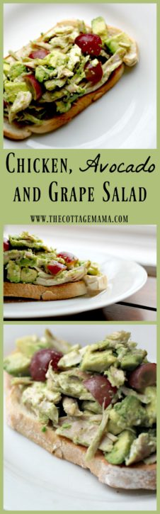 Chicken, Avocado and Grape Salad Recipe. This simple recipe is SO healthy and delicious!! From The Cottage Mama.