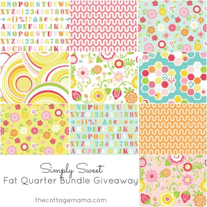 Simply Sweet Fat Quarter Bundle Giveaway. www.thecottagemama.com