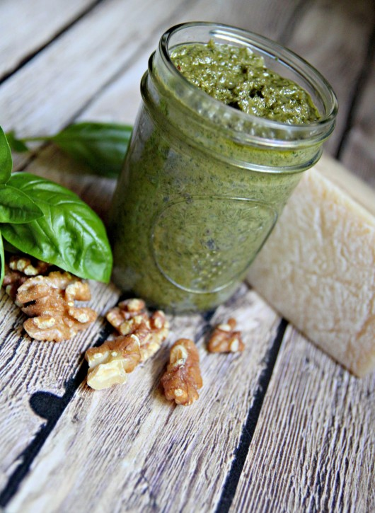 Walnut Basil Pesto Recipe. www.thecottagemama.com