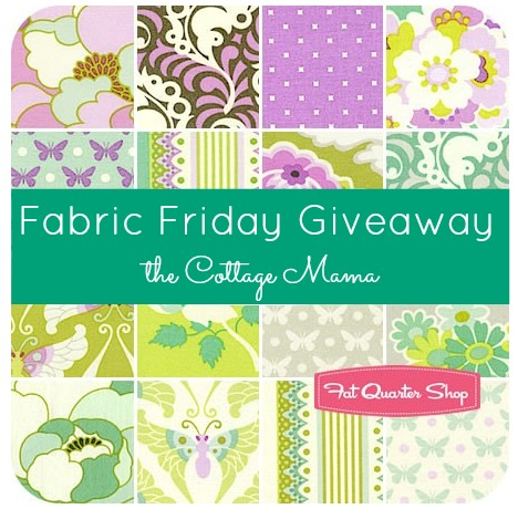Fabric Friday Giveaway on The Cottage Mama. $75 Gift Certificate to Fat Quarter Shop. www.thecottagemama.com