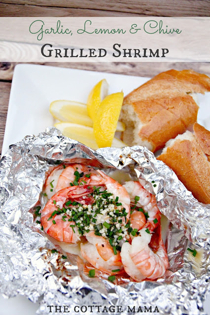 Garlic, Lemon and Chive Grilled Shrimp Recipe by Lindsay Wilkes from The Cottage Mama. www.thecottagemama.com