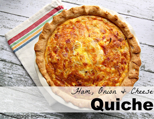 Ham, Onion and Cheese Quiche Recipe from The Cottage Mama. www.thecottagemama.com