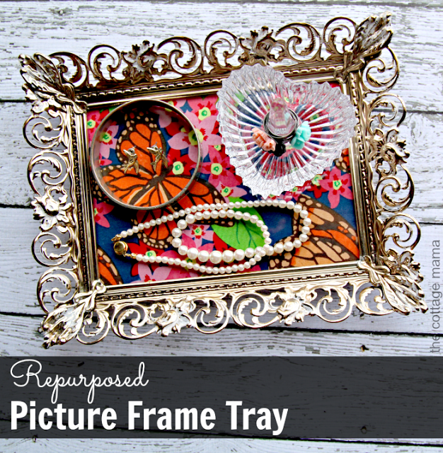 Repurposed Picture Frame Tray Tutorial by Lindsay Wilkes from The Cottage Mama. www.thecottagemama.com