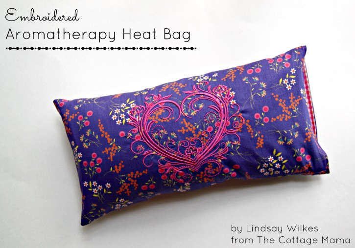 Embroidered Aromatherapy Heat Bag FREE Pattern. www.thecottagemama.com