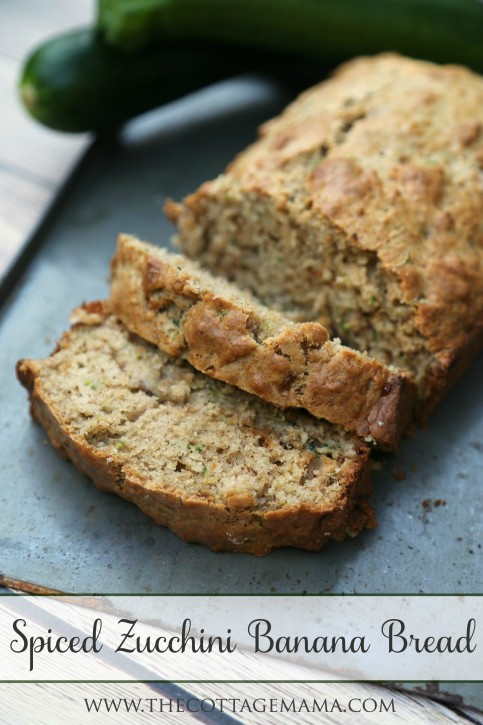 The BEST Spiced Zucchini Banana Bread Recipe from The Cottage Mama. www.thecottagemama.com