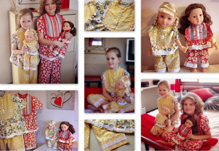 The Cottage Mama Sewing Contest. Claire Pajamas Pattern with matching doll PJ's. www.thecottagemama.com