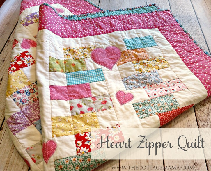 Heart Zipper Quilt by Grandma Jane for The Cottage Mama. www.thecottagemama.com