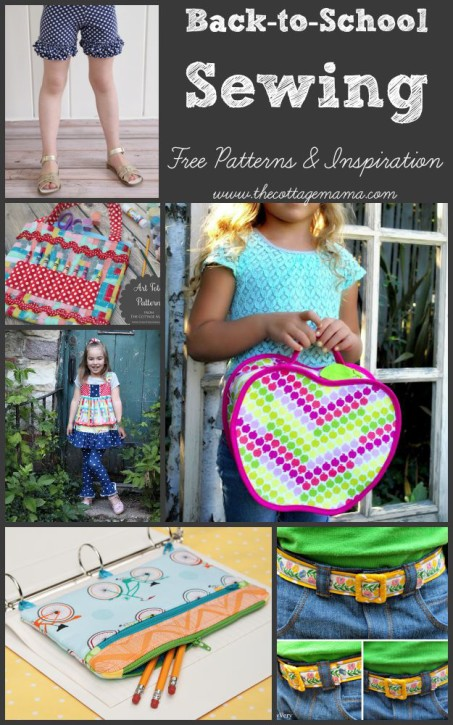 Back-to-School Sewing. Free Projects and Inspiration from The Cottage Mama. www.thecottagemama.com