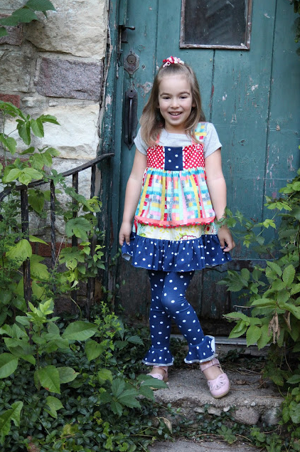 1st Day of School Outfit adapted from The Cottage Mama Charlotte Apron Dress Pattern