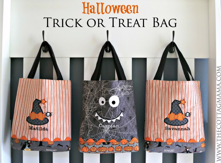 Free Halloween Trick-or-Treat Bag Tutorial from The Cottage Mama. www.thecottagemama.com