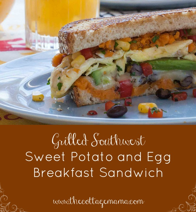 Grilled Southwest Sweet Potato & Egg Breakfast Sandwich. www.thecottagemama.com