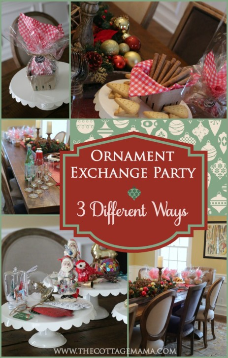 How to Host a Holiday Ornament Exchange Party. Check out these three different party ideas from The Cottage Mama. www.thecottagemama.com