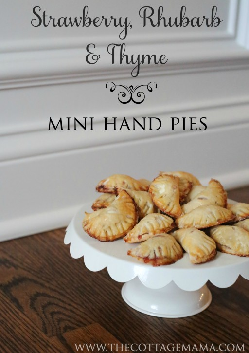 Strawberry, Rhubarb, Cream Cheese and Thyme Mini Hand Pies Recipe from The Cottage Mama. SO delicious!