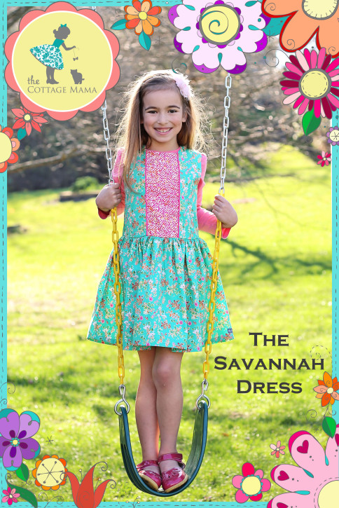 Savannah Dress Pattern from The Cottage Mama. Size 6 month - size 10. www.thecottagemama.com/shop