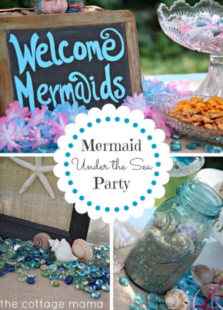 Mermaid Under the Sea Party. You have to check out this party. The details are AMAZING! From The Cottage Mama blog.