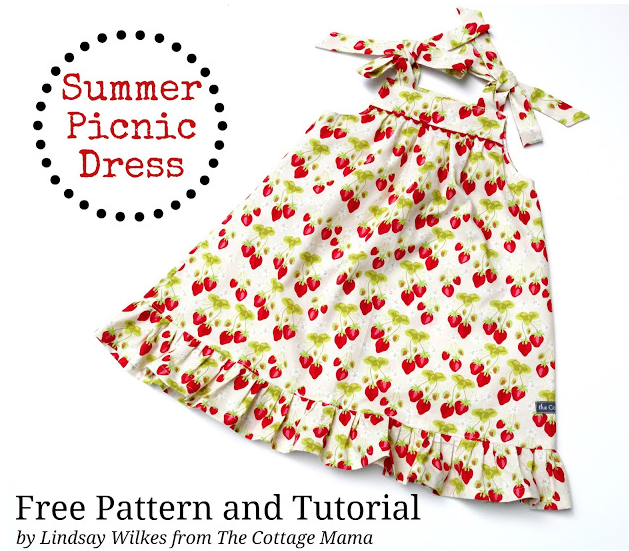 FREE Summer Picnic Dress Pattern. A wonderful EASY, Beginner sewing pattern. From The Cottage Mama Blog.
