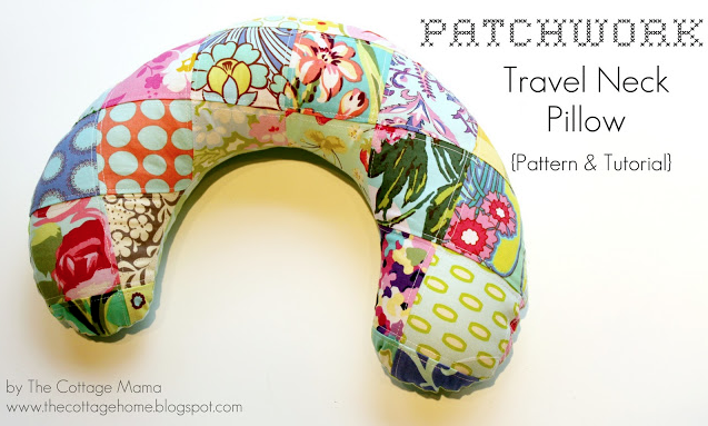 FREE Pattern for a Patchwork Travel Neck Pillow. From The Cottage Mama.