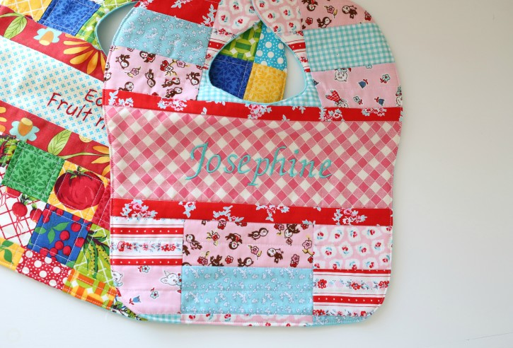 Patchwork Quilted Baby Bibs for Josephine Pattern. www.thecottagemama.com