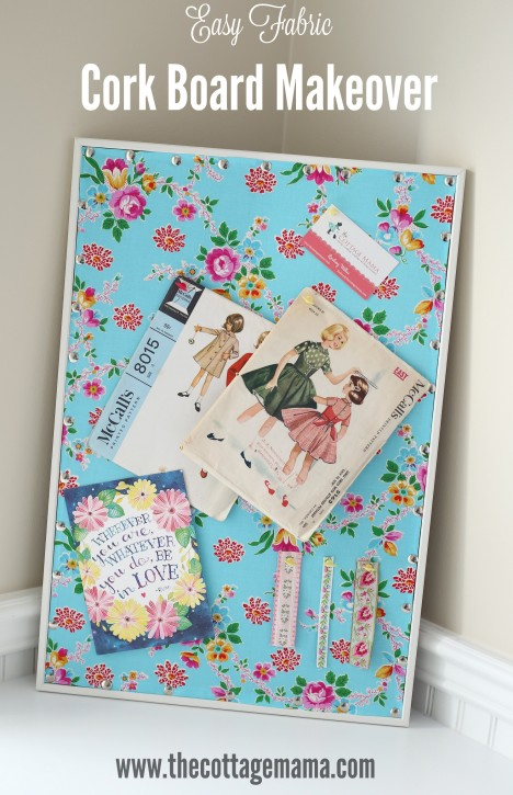 Easy Cork Board Makeover by Lindsay Wilkes from The Cottage Mama. This idea is SO easy and inexpensive!