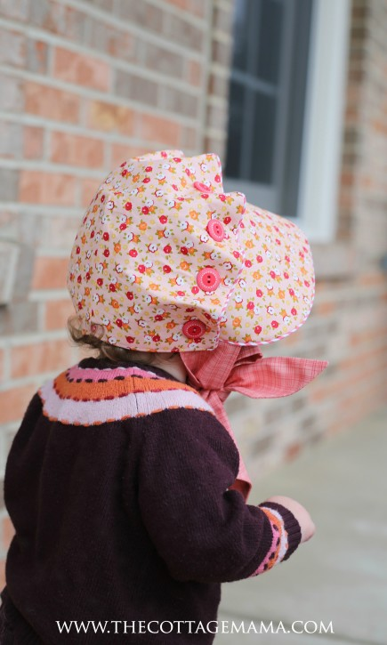 Josie Mae Bonnet Pattern from The Cottage Mama. Fabric is Farm Girl by October Afternoon for Riley Blake Designs.