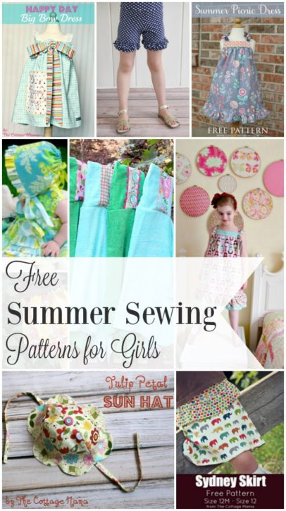FREE Summer Sewing Patterns for Girls from The Cottage Mama.