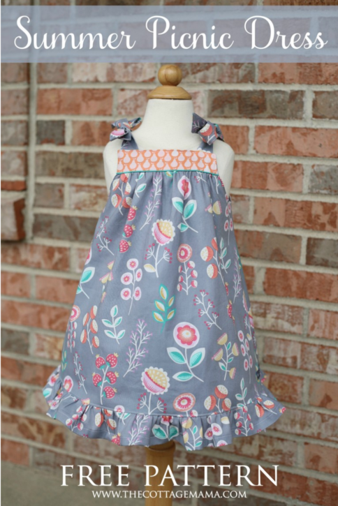 Summer Picnic Dress. Free Pattern from The Cottage Mama.