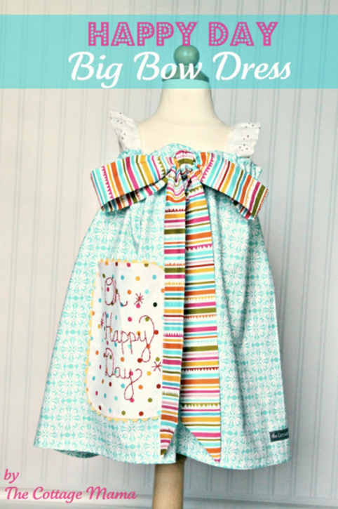 Happy Day Big Bow Dress. Free Pattern from The Cottage Mama.