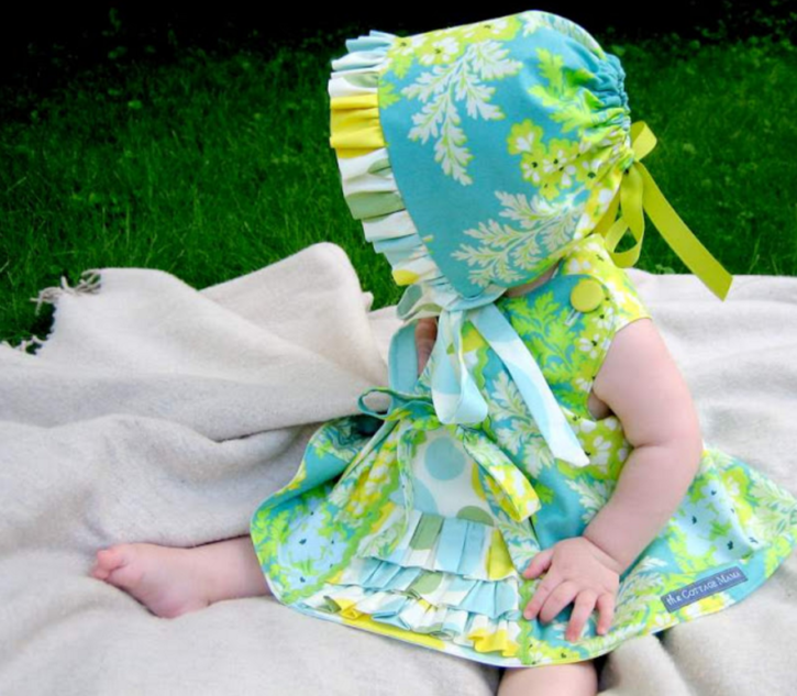 Free Ruffle Bonnet Pattern and Tutorial from The Cottage Mama.