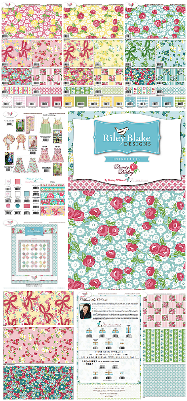 Dainty Darling Fabric Collection design by Lindsay Wilkes from The Cottage Mama for Riley Blake Designs.