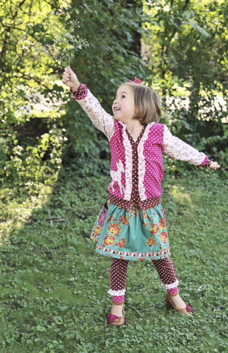 Maisie Skirt and Leggings Sewing Pattern from The Cottage Mama. Pictured with the Double Dutch Cardigan from The Cottage Mama. SO many Back to School sewing ideas!