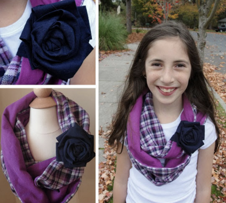 Girls Cuffed Infinity Scarf Free Sewing Pattern from The Cottage Mama. More Back to School Sewing.