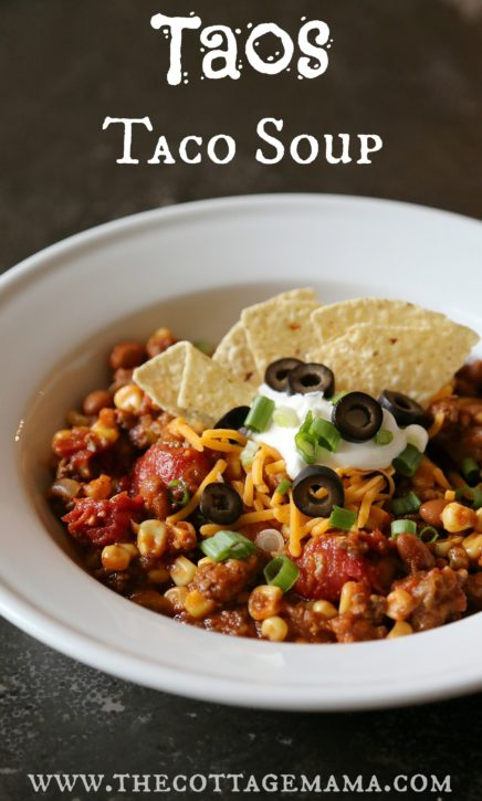 Taos Taco Soup Recipe. Can be made in the slow cooker or on the stove. Delicious!!! The Cottage Mama.