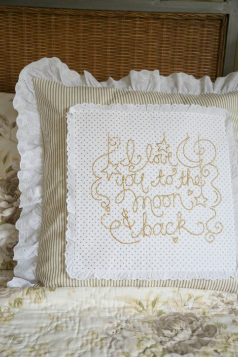 Baby Lock Love of Sewing Challenge. Lindsay Wilkes from The Cottage Mama. Embroidered Pillow Tutorial using IQ Designer on the Baby Lock Destiny 2 Sewing Machine.