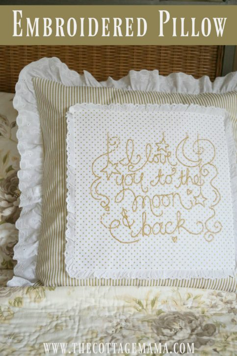 Baby Lock Love of Sewing Challenge. Lindsay Wilkes from The Cottage Mama. I Love You to the Moon and Back Embroidered Pillow Tutorial using IQ Designer on the Baby Lock Destiny 2 Sewing Machine.