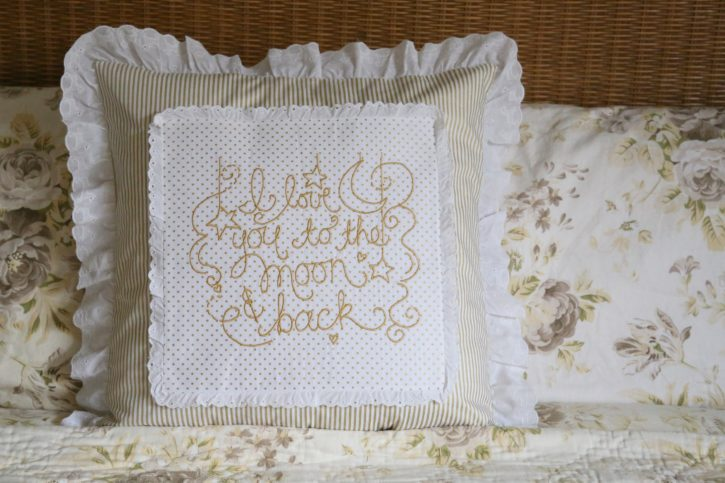 Free Embroidered Pillow Tutorial from Lindsay Wilkes of The Cottage Mama for the Baby Lock Love of Sewing Challenge. Featuring the Destiny II Sewing and Embroidery Machine. Free download.