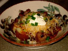 Easy Dinner Idea: Chili Cheese Baked Potatoes