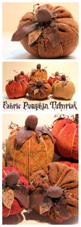 Fall Fabric Pumpkin Tutorial. www.thecottagemama.com