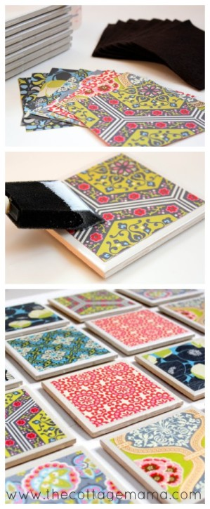 Tile Coaster Tutorial by Lindsay Wilkes from The Cottage Mama. www.thecottagemama.com