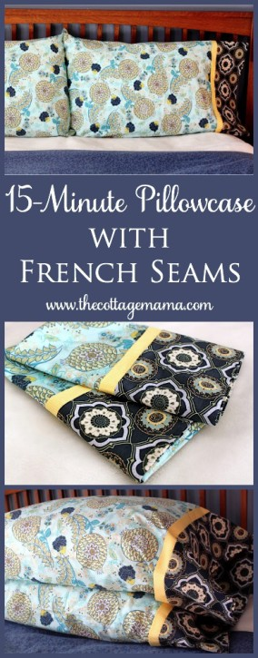 15 Minute Pillowcase with French Seams. Free Pattern and Tutorial from The Cottage Mama. & 15-Minute Pillowcase with French Seams ~ Tutorial - The Cottage Mama pillowsntoast.com
