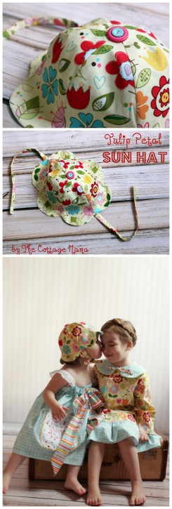 Tulip Petal Sun Hat FREE Pattern and Tutorial from The Cottage Mama. www.thecottagemama.com