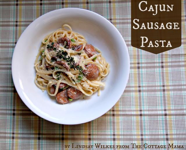 Cajun Sausage Pasta with Cream Sauce ~ Recipe - The Cottage Mama