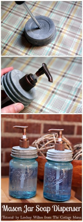 Mason Jar Soap Dispenser from The Cottage Mama
