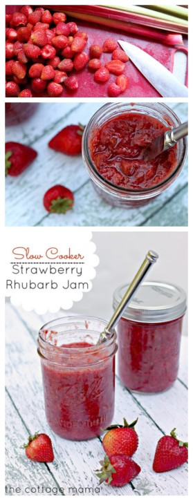 Slow Cooker Strawberry Rhubarb Jam - The Cottage Mama
