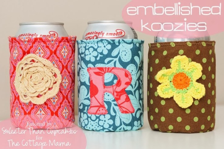Embellished Koozie Tutorial from The Cottage Mama. Guest post from Sweeter Than Cupcakes. www.thecottagemama.com