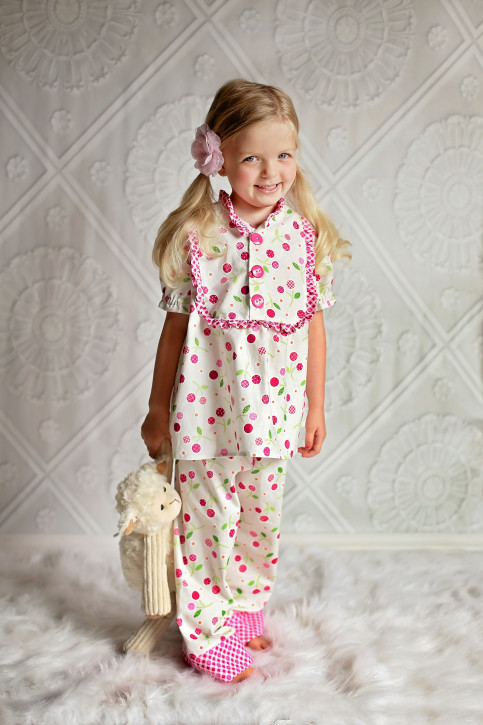 "Claire Pajamas Pattern from The Cottage Mama. Size 6 month - 10 years and 18"" doll pattern."
