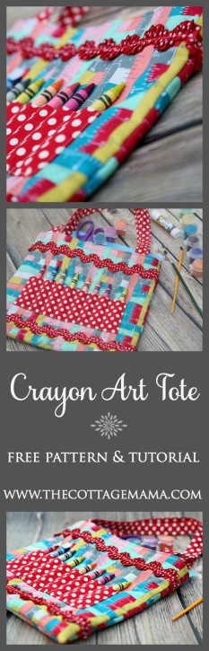 Crayon Art Tote Pattern and Tutorial from The Cottage Mama. www.thecottagemama.com