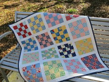 Easy Jolly Bar Sixteen Patch Quilt Tutorial