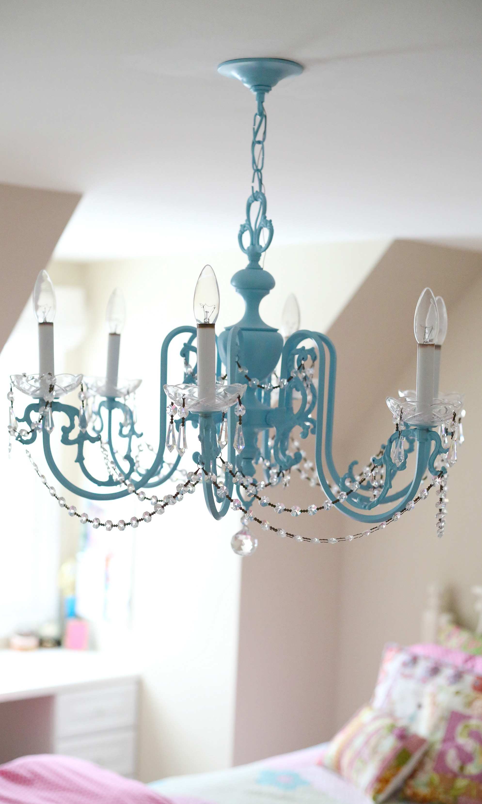 Girls chandelier makeover the cottage mama for Chandeliers for girls room